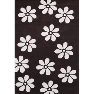 Alliyah Handmade Black New Zealand Blend Wool Rug (5 x 8)