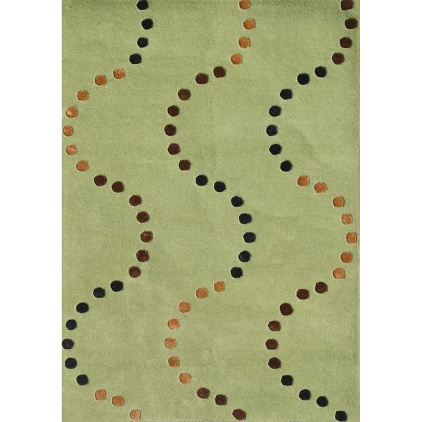Alliyah Handmade Green Glow New Zealand Blend Wool Rug (5 x 8)