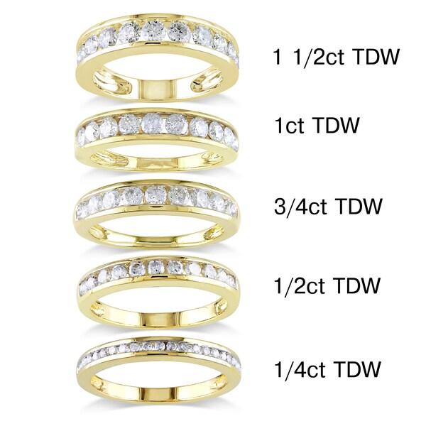 Miadora 14k Yellow Gold 1/4 to 1 1/2ct TDW Diamond Semi Eternity Band (G-H, I1-I2)
