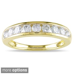 Miadora 14k Yellow Gold 1/4 to 1 1/2ct TDW Diamond Semi Eternity Band (G-H, I1-I2)