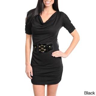Stanzino Women's Belted Cut-out Shoulder Dress