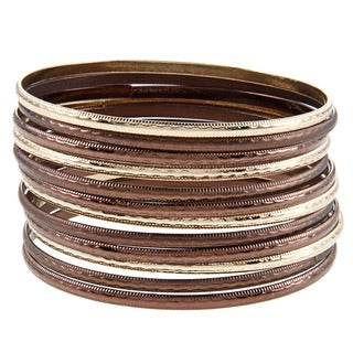 Two-tone Hammered 12-piece Bangle Set