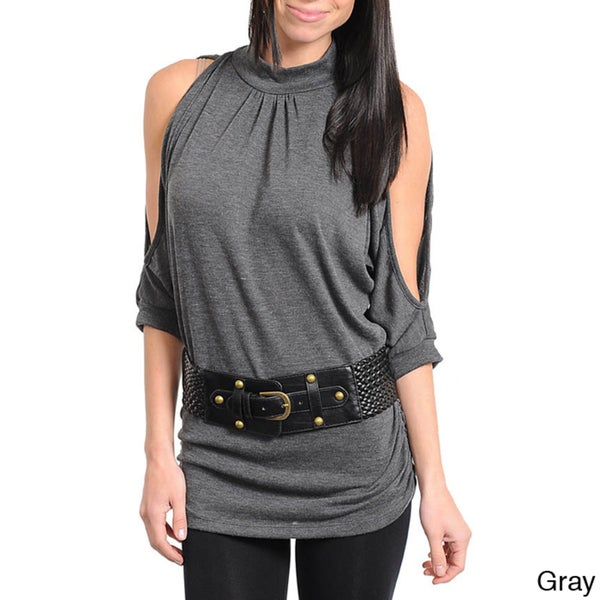 Stanzino Women's Belted Cut-out Shoulder Top