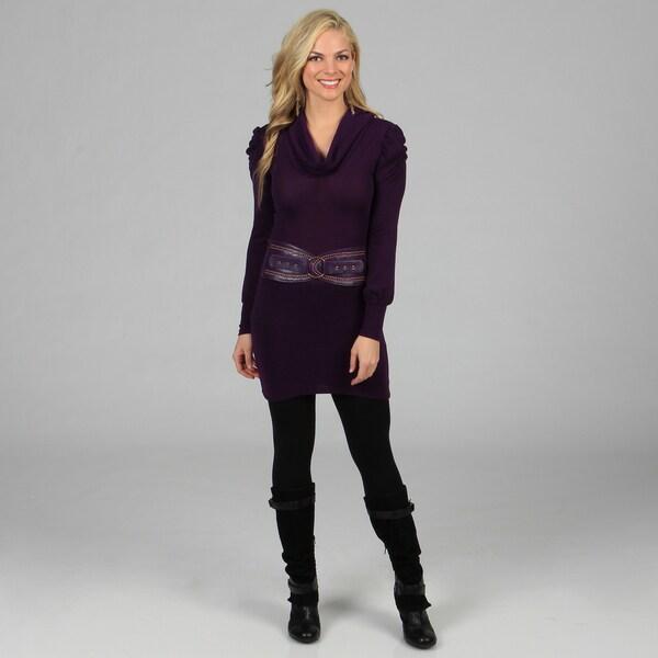 Stanzino Women's Purple Belted Long Sleeve Dress
