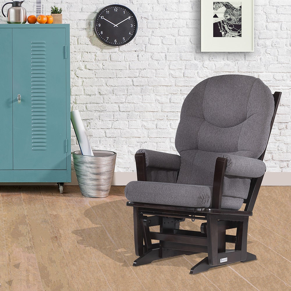 Swell Details About Modern Glider Rocking Chair Furniture Baby Nursery Living Room Espresso Grey New Evergreenethics Interior Chair Design Evergreenethicsorg