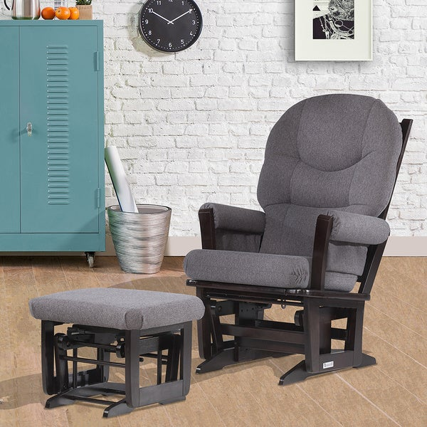 Dutailier Espresso/ Dark Grey Modern Glider and Ottoman Set - Dutailier Espresso/ Dark Grey Modern Glider And Ottoman Set - Free