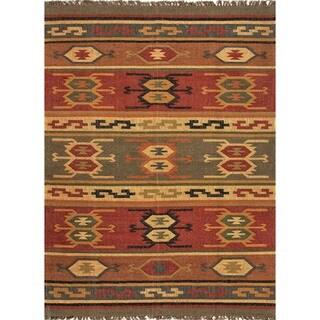 Handmade Flat Weave Tribal Multicolor Hemp/ Jute Rug (5' x 8')