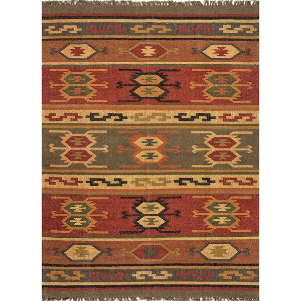 Handmade Flat Weave Tribal Multicolor Hemp/ Jute Rug (5' x 8')
