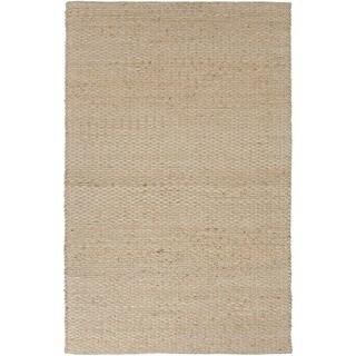 Natural Solid-pattern Jute/ Cotton Beige/ Brown Rug (2'6 x 4')