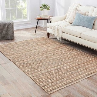 "Haven Natural Stripe Beige/ Blue Area Rug (2'6"" X 4')"