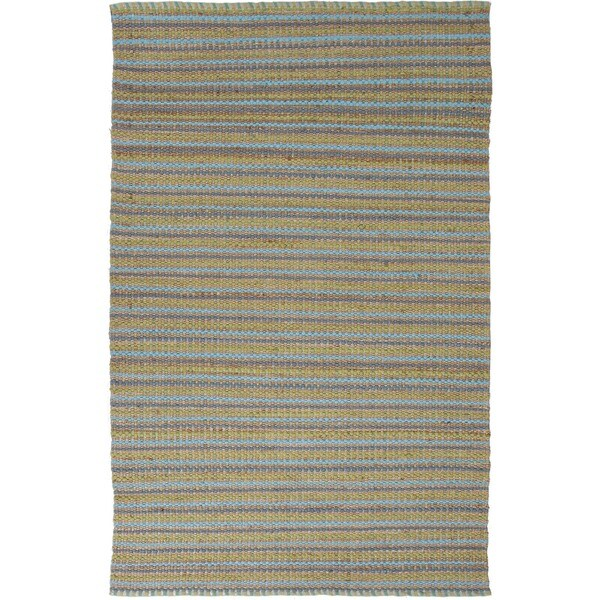 Natural Solid Jute/ Cotton Blue Rug (5' x 8')
