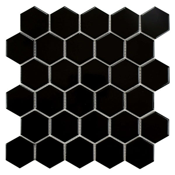 SomerTile Victorian Hex Glossy Black Porcelain Mosaic Tiles (Case of 10)