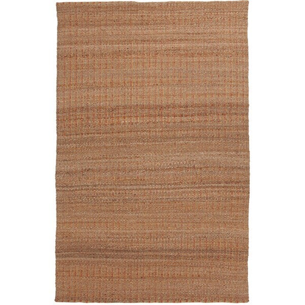 Natural Solid Jute/ Cotton Red/ Orange Rug (2'6 x 4')