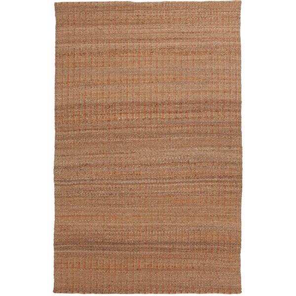 Natural Solid Jute/ Cotton Red/ Orange Rug (3'6 x 5'6)