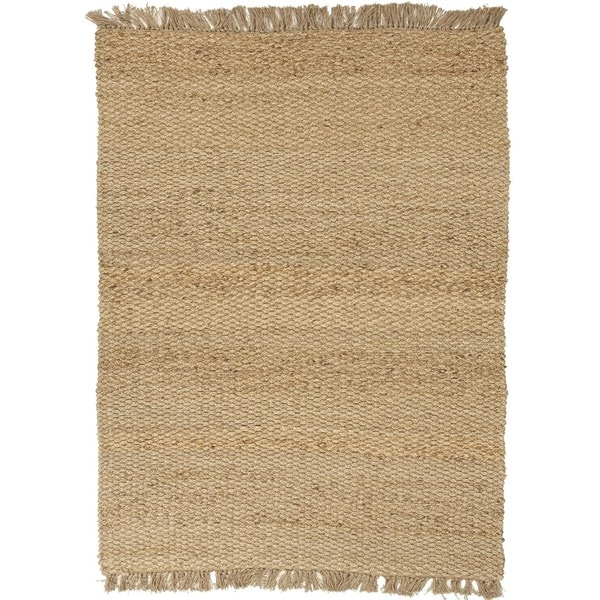 Natural Solid Hemp/ Jute Beige/ Brown Rug (5' x 8')
