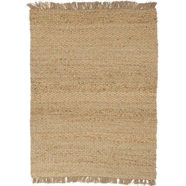 Natural Solid Hemp/ Jute Beige/ Brown Rug (8' x 10')