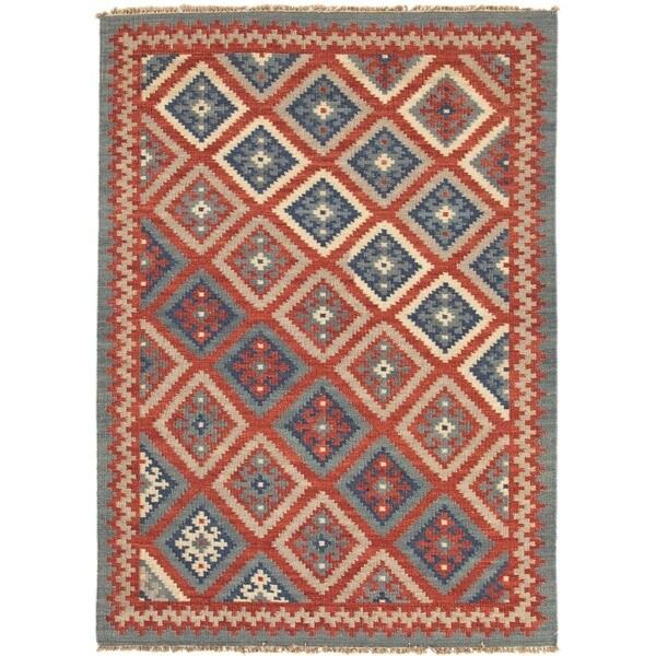 Handmade Flat-weave Tribal Multicolor Wool Area Rug (4' x 6')
