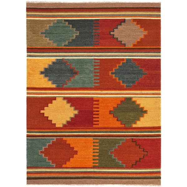 Handmade Flat Weave Tribal Red Oxide Multicolor Wool Rug (5' x 8')