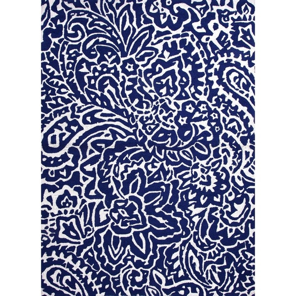 Indoor/ Outdoor Abstract Blue Rug (9' x 12')