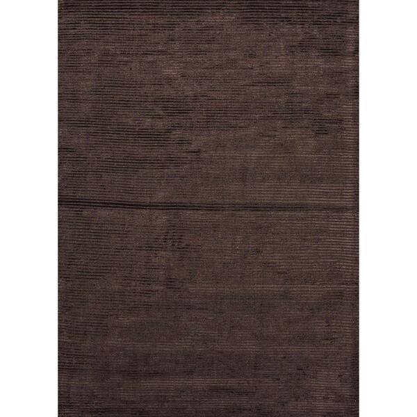Hand-loomed Solid Beige/ Brown Wool/ Silk Rug (9' x 12')