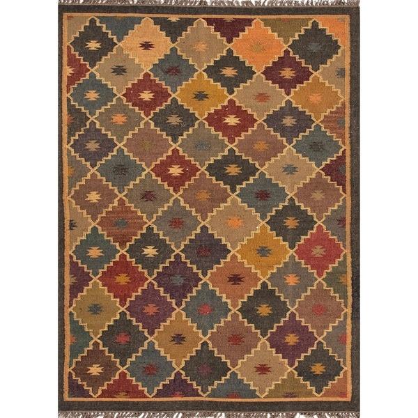 Handmade Flat Weave Tribal Multicolor Jute Rug (4' x 6')