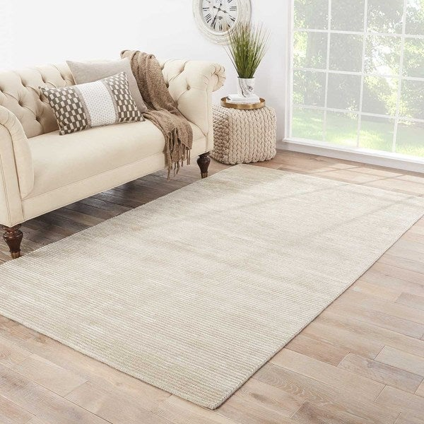 "Phase Handmade Solid White/ Taupe Area Rug (9' X 12') - 8'10"" x 11'9"""