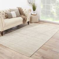 Phase Handmade Solid White/ Taupe Area Rug (9' X 12') - 9' x 12'