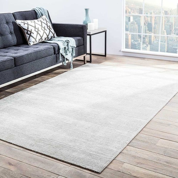 Phase Handmade Solid Light Gray Area Rug 9 X27