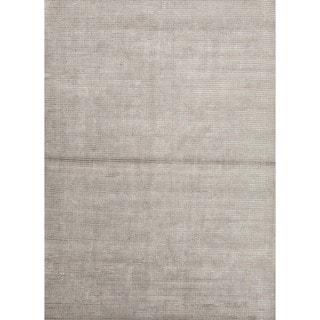 Hand-loomed Solid Grey Wool/ Silk Rug (9' x 12')