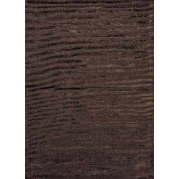 Hand-loomed Brown Wool/ Silk Rug (5' x 8')