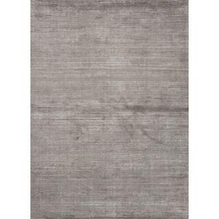 Hand-loomed Solid Gray Wool/ Silk Area Rug (2' x 3')
