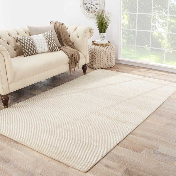 Phase Handmade Solid Beige Area Rug (5' X 8') - 5' x 8'