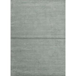 Hand-loomed Solid Blue Wool/ Silk Rug (8' x 10')