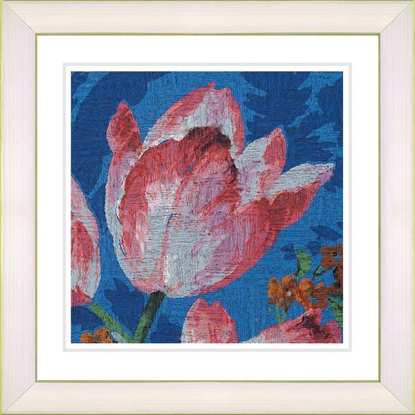 Studio Works Modern 'Blue Tulip - White' Framed Giclee Print - Multi