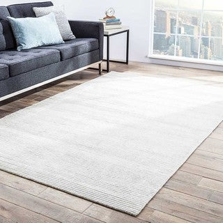 Phase Handmade Solid White Area Rug (5' X 8')