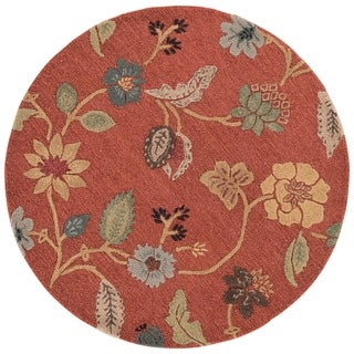 Bloomsbury Handmade Floral Red/ Multicolor Area Rug (8' X 8') - 8' x 8' Round