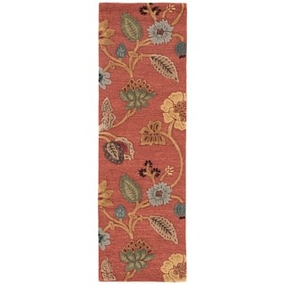 "Bloomsbury Handmade Floral Red/ Multicolor Area Rug (2'6"" X 12')