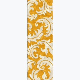 Tufted A43 Transitional Gold/ Yellow Wool/ Silk Runner Rug (2'6 x 8')