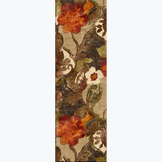 A44 Transitional Beige/ Brown Wool/ Silk Runner Rug (2'6 x 12')