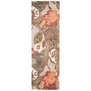 "Clemente Handmade Floral Light Gray/ Multicolor Area Rug (2'6"" X 12')"