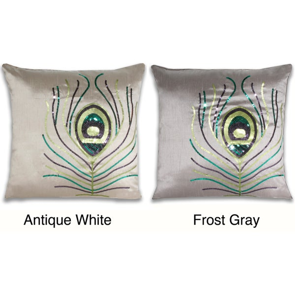 Liana Sequin Peacock Feather 18-inch Decorative Pillow