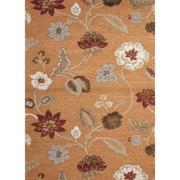 Transitional Hand-Tufted Red/Orange Floral Wool/Silk Rug (8' x 11')