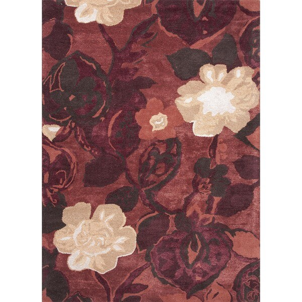 Hand-tufted Red/ Orange Wool/ Silk Rug (5' x 8')