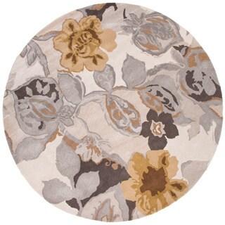 Hand-tufted Gray Wool/ Silk Rug (8' Round)