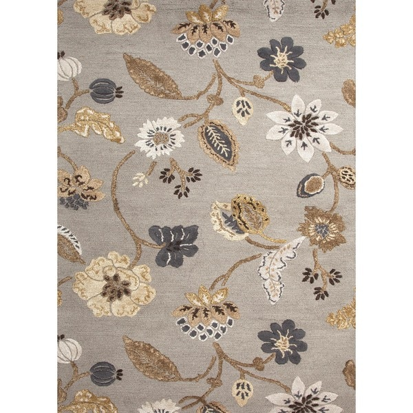 Hand-tufted Gray Wool/ Silk Rug (5' x 8')