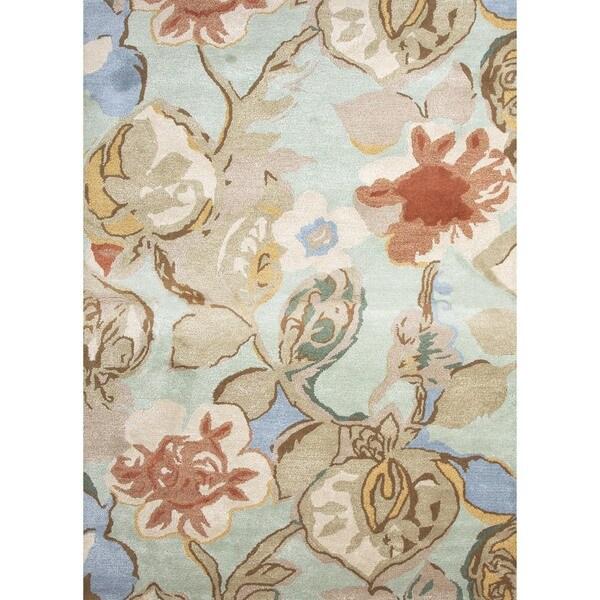 Hand-tufted 'Blue' Floral Wool/ Silk Rug (5' x 8')
