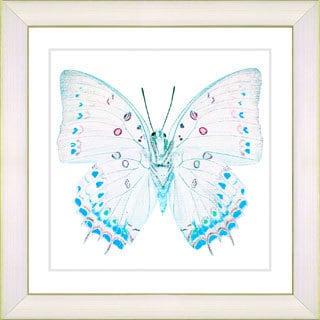 Studio Works Modern 'White Butterfly - Blue' Framed Print - White/Blue