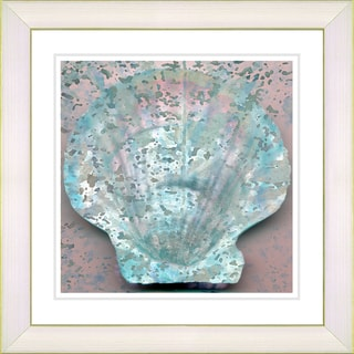 Studio Works Modern 'Turquoise Sea Shell' Framed Print