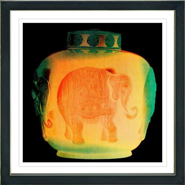Studio Works Modern 'Orange Elephant Urn' Framed Print