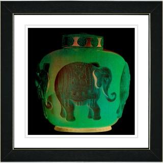 Studio Works Modern 'Jade Green Elephant Urn' Framed Print